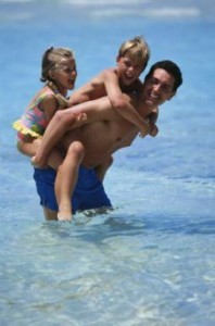 Dad & Kids in water